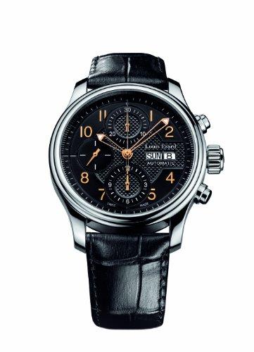 Louis Erard Herren Armbanduhr 40mm Armband Leder Schwarz Gehaeuse Edelstahl Automatik 78269AA02 BDC02