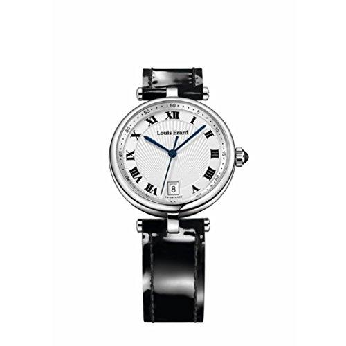 Louis Erard Damen Schwarz Leder Armband Edelstahl Gehaeuse Uhr 11810AA01 BDCB5
