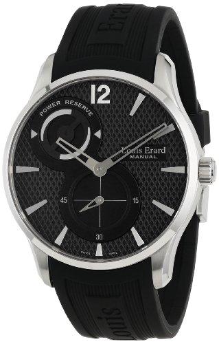 Louis Erard 1931 Herren 42mm Schwarz Kautschuk Armband Uhr 53209AS02 BDE03