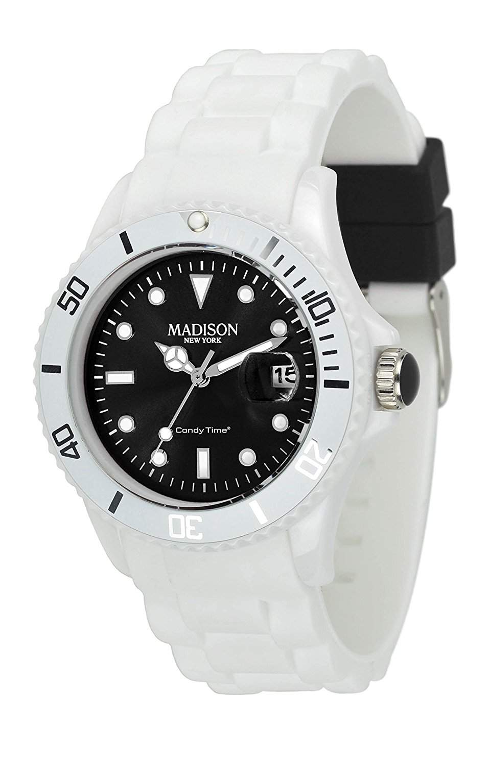 Madison New York Unisex-Armbanduhr Candy Time White Fashion Analog Quarz Silikon U4359A1