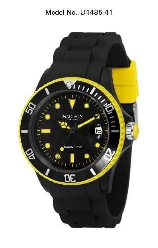 Madison New York Unisex-Armbanduhr Candy Time Blackline Neon Analog Quarz Silikon U4485-41