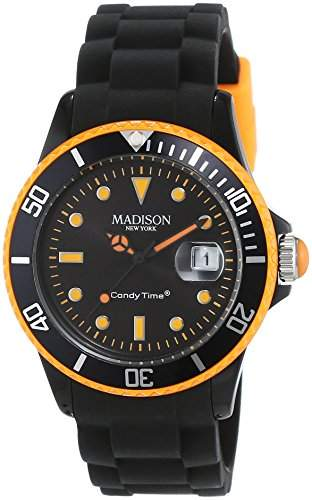 MADISON NEW YORK Unisex-Armbanduhr Candy Time Black Line Neon Analog Quarz Silikon U4485-421