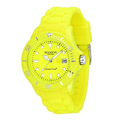 MADISON CANDY TIME NEON HERREN & DAMEN 40MM GELB SILIZIUM ARMBAND UHR U4503-501