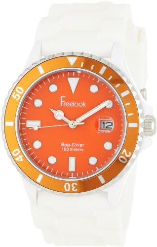 Freelook Herren ha1433 00 Sea Diver Jelly Weiss Silikon Band mit orange Zifferblatt Armbanduhr