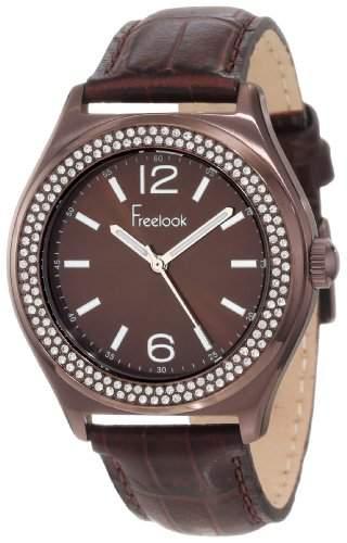 Freelook Damen HA1213B-2 Sunray Brown Dial Swarovski Bezel Armbanduhr