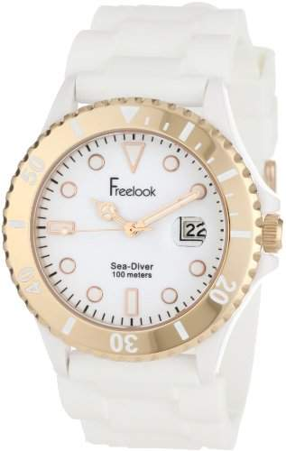Freelook Herren HA1433RG-9 Sea Diver Jelly White with Rose Gold Bezel Armbanduhr