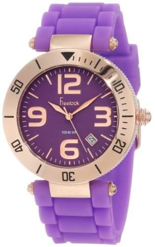 Freelook Herren HA1534RG-8 Purple Silicone Band WPurple Dial Rose Gold Case Armbanduhr