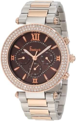 Freelook Damen HA1539RGM-2 Brown Chronograph Dial Rose Gold Swarovski Bezel Armbanduhr