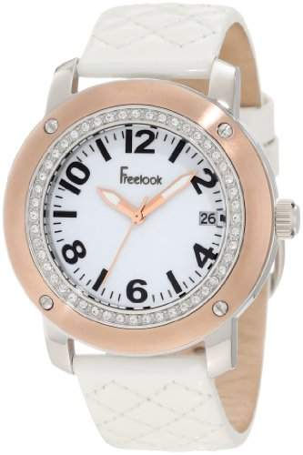 Freelook Damen HA1812RG-9 White Leather Band Matt White Dial Rose Gold Case Armbanduhr
