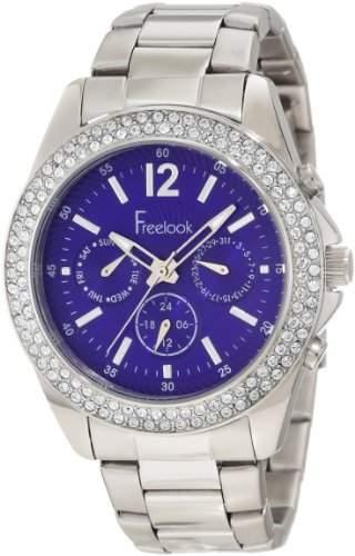 Freelook Damen HA6305-6 Silver Band & Case Blue Dial Chronograph Swarovski Bezel Armbanduhr