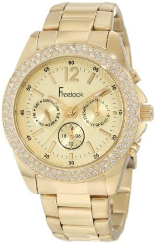 Freelook Damen HA6305G-3 All Gold Band And Dial Chronograph Swarovski Bezel Armbanduhr