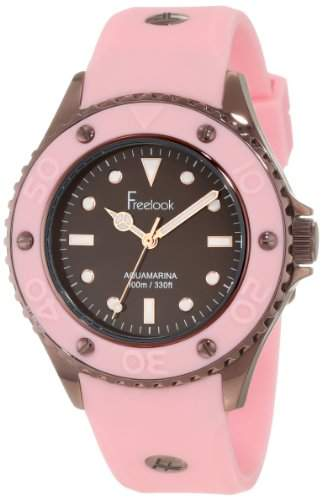 Freelook Damen HA9035-5C Aquajelly Pink Silicone Band With Brown Bezel Armbanduhr