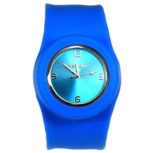 Blaue Aufklatsch-Uhr mit Armband aus Silikon