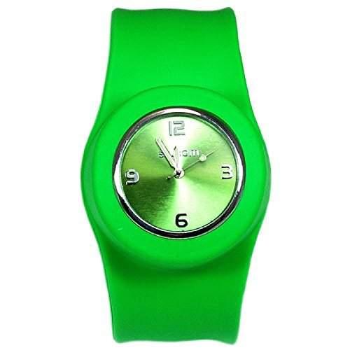 Gruene Aufklatsch-Uhr mit Armband aus Silikon