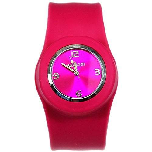 Pinke Aufklatsch-Uhr mit Armband aus Silikon