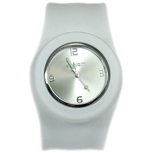 Weisse Aufklatsch-Uhr mit Armband aus Silikon