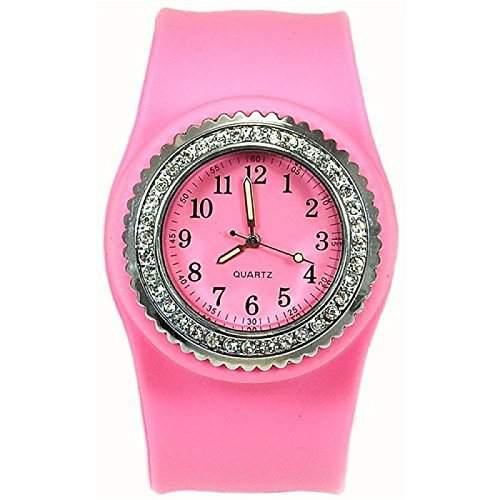 1 x mit rosa Zirkonia besetzte Quarz Silikon Slap Uhr