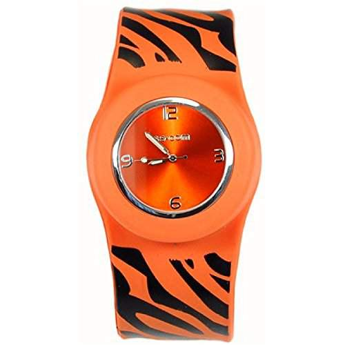 Originelle Orange Slap Uhr mit Zebrastreifen