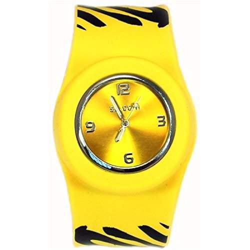 Originelle Gelbe Slap Uhr mit Zebrastreifen