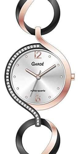Gardé by Ruhla Moderne Damenuhr Elegance 21787 Edelstahl schwarz rosé mit Steinchen