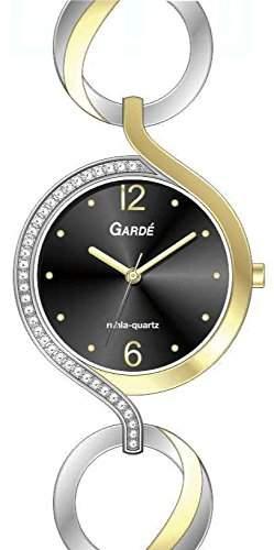 Gardé by Ruhla Moderne Damenuhr Elegance 21789 Edelstahl vergoldet mit Steinchen