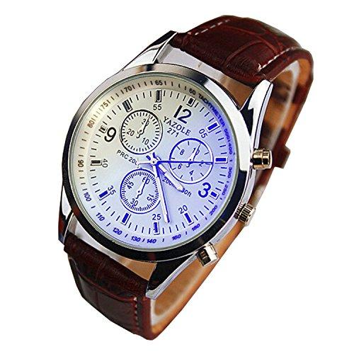 Chianrliu Luxus Mode Kunstleder Herren Blue Ray Glas Quartz Analog Uhren Braun