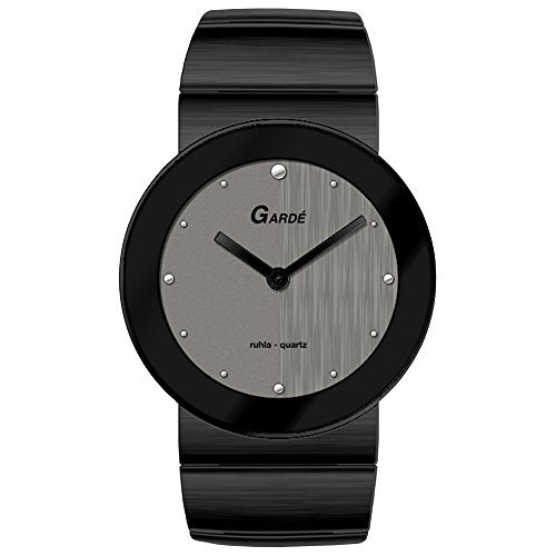 GARDE Elegant Analog Edelstahl Armband schwarz Quarz Uhr Ziffernblatt grau silber UGA16901