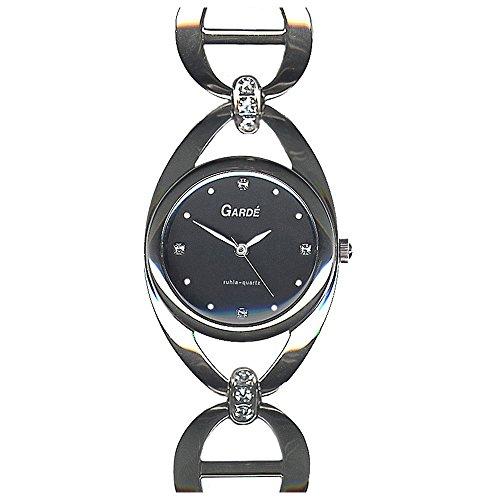 GARDE Elegant Analog Edelstahl Armband silber Quarz Uhr Ziffernblatt schwarz UGA21410