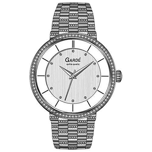 GARDE Elegant Analog Edelstahl Armband silber Quarz Uhr Ziffernblatt silber weiss UGA73142