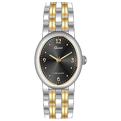 GARDE Elegant Analog Edelstahl Armband silber gold Quarz Uhr Ziffernblatt schwarz UGA77916