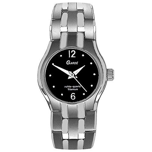 GARDE Elegant Analog Titan Edelstahl Armband silber grau Quarz Uhr Ziffernblatt schwarz UGA78036