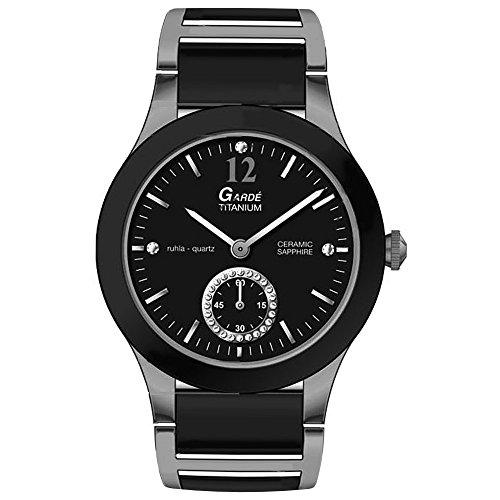 GARDE Elegant Analog Titan Keramik Armband silber schwarz Quarz Uhr Ziffernblatt schwarz UGA21826