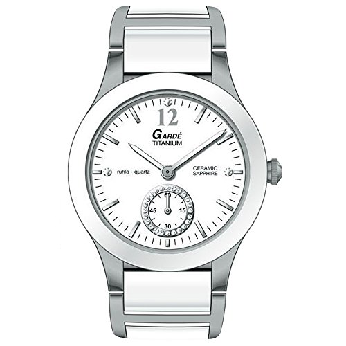 GARDE Elegant Analog Titan Keramik Armband weiss silber grau Quarz Uhr Ziffernblatt weiss UGA21827