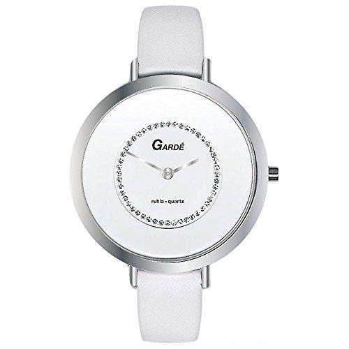GARDE Elegant Analog Leder Armband weiss Quarz Uhr Ziffernblatt weiss UGA202311