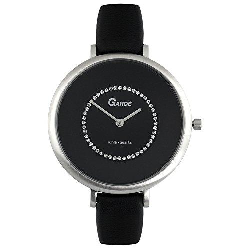 GARDE Elegant Analog Leder Armband schwarz Quarz Uhr Ziffernblatt schwarz UGA202312
