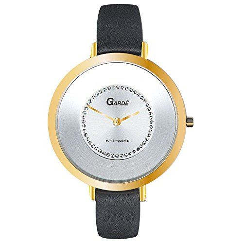 GARDE Elegant Analog Leder Armband schwarz Quarz Uhr Ziffernblatt weiss UGA202313