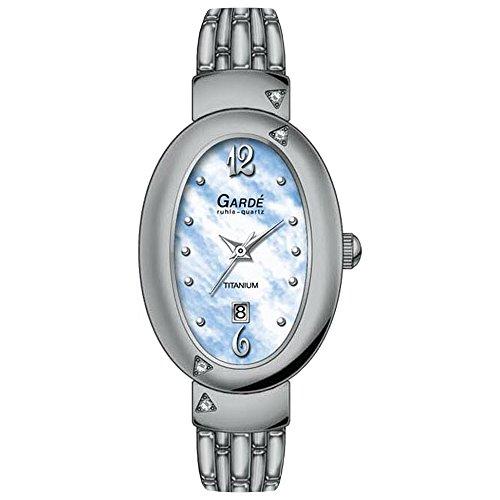 GARDE Elegant Analog Titan Armband silber Quarz Uhr Ziffernblatt hellblau UGA20205