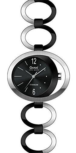 Garde Ruhla elegante Titanuhr fuer Damen bicolor schwarz 28444