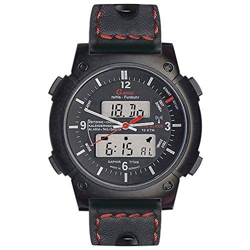 GARDE Elegant Chronograph Leder Armband schwarz Quarz Uhr Ziffernblatt schwarz UGA06016C