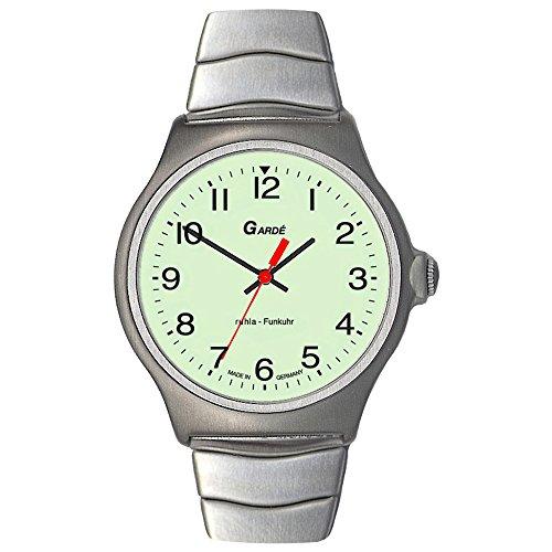 GARDE Elegant Analog Edelstahl Armband silber Funkuhr Uhr Ziffernblatt weiss gruen UGA023076M