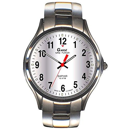 GARDE Elegant Analog Edelstahl Armband silber Funkuhr Uhr Ziffernblatt silber UGA109026M