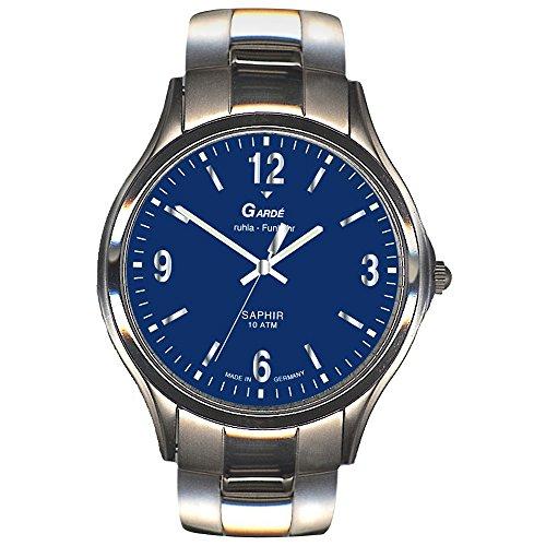 GARDE Elegant Analog Edelstahl Armband silber Funkuhr Uhr Ziffernblatt blau UGA111026M