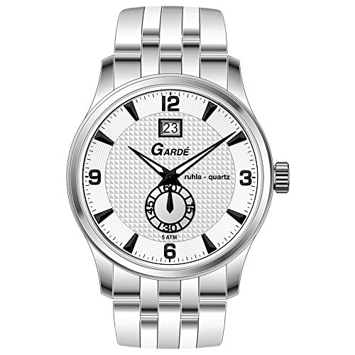 GARDE Elegant Analog Edelstahl Armband silber Quarz Uhr Ziffernblatt weiss UGA22471
