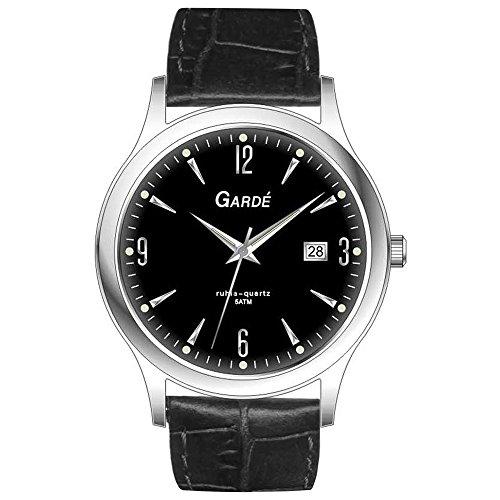 GARDE Elegant Analog Leder Armband schwarz Quarz Uhr Ziffernblatt schwarz UGA11287