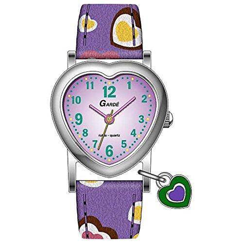 GARDE Elegant Analog Leder Armband lila Quarz Uhr Ziffernblatt rosa UGA10922