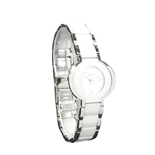 gooix GX01134311 Keramik Uhr Damenuhr kratzfestes Keramik Edelstahl 50m Analog weiss