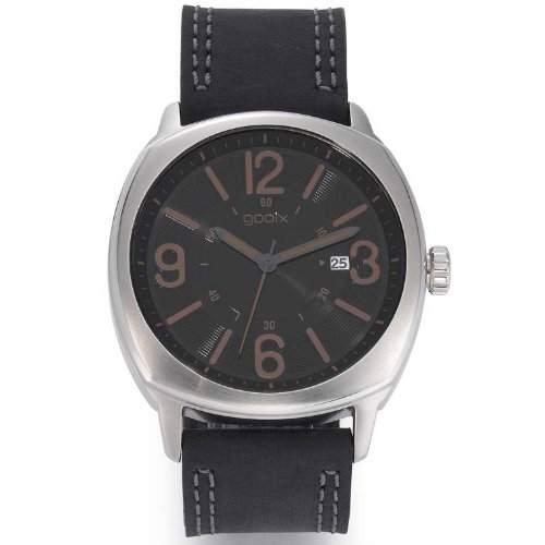gooix GX01101000 Classic Uhr Herrenuhr Lederarmband Edelstahl 50m Analog Datum schwarz
