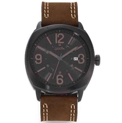 gooix GX01101020 Classic Uhr Herrenuhr Lederarmband Edelstahl schwarz 50m Analog Datum braun