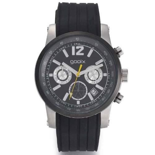 gooix GX01103100 Sport Chronograph Uhr Herrenuhr Kautschuk Edelstahl 50m Analog Chrono Datum schwarz