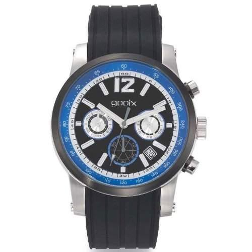 gooix GX01103105 Sport Chronograph Uhr Herrenuhr Kautschuk Edelstahl 50m Analog Chrono Datum schwarz
